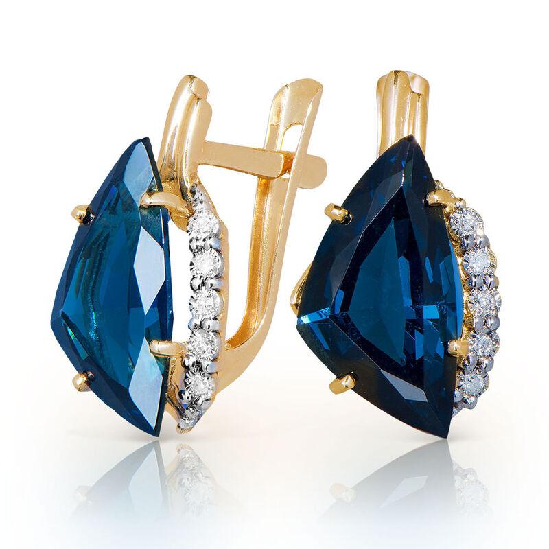 Ювелирный салон Jeweller Karat Серьги золотые с бриллиантами и топазами арт. 3226093/9 - фото 1