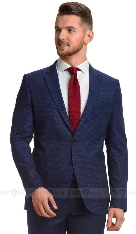 Пиджак, жакет, жилетка мужские Keyman Пиджак мужской синий фактурный с накладными карманами - фото 1