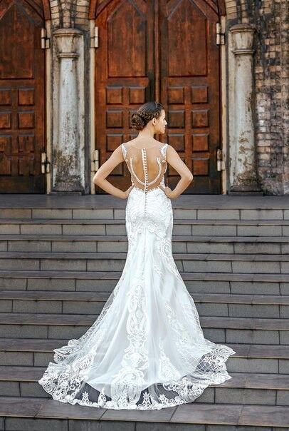 Свадебное платье напрокат Shkafpodrugi Свадебное платье-рыбка с открытой спинкой из итальянского кружева 0022-16 - фото 2