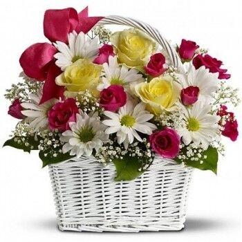 Магазин цветов Ветка сакуры Композиция Корзина из роз № 38 - фото 1