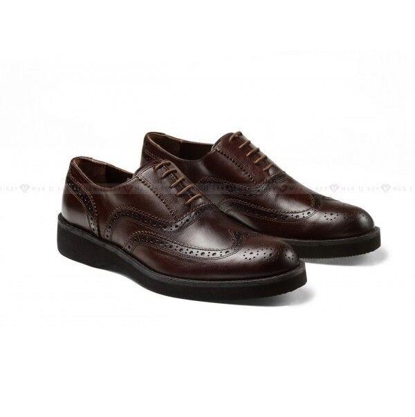 Обувь мужская Keyman Туфли мужские броги коричневые на сплошной подошве - фото 1