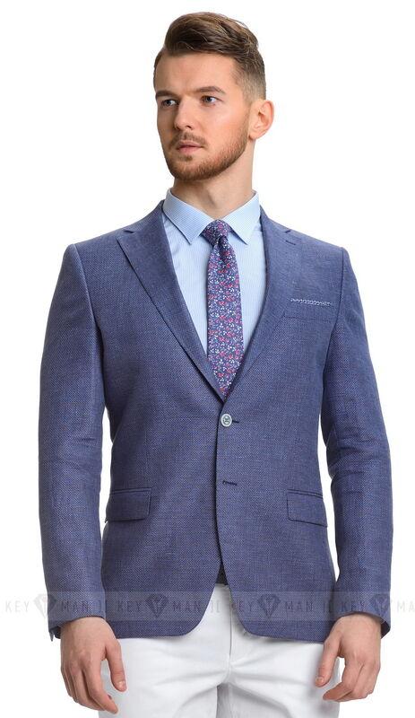 Пиджак, жакет, жилетка мужские Keyman Пиджак мужской синий льняной - фото 1