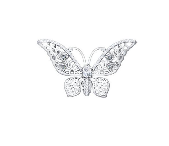 Ювелирный салон Sokolov Брошь в форме бабочки 94040074 - фото 1