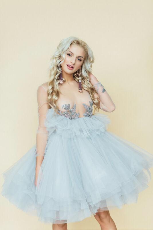 Вечернее платье Кураж Вечернее платье светло-голубое - фото 2