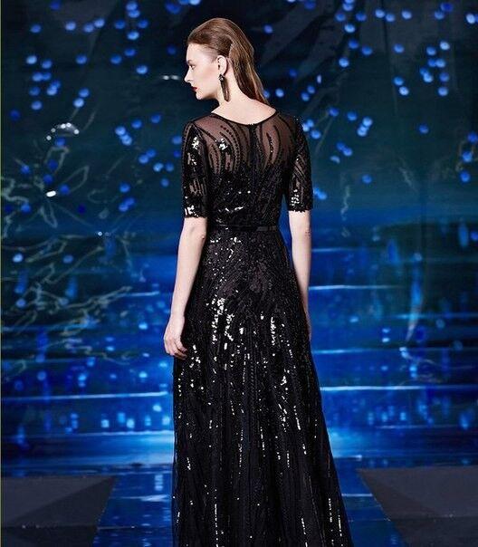 Вечернее платье Shkafpodrugi Вечернее платье с короткими рукавами и пайетками 2122 - фото 3