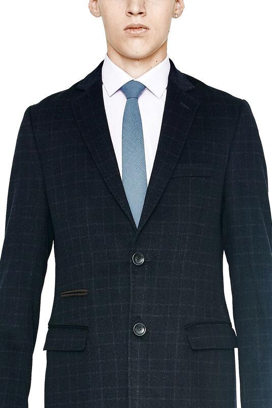 Верхняя одежда мужская HISTORIA Пальто мужское темно-синее в клетку H01 - фото 3