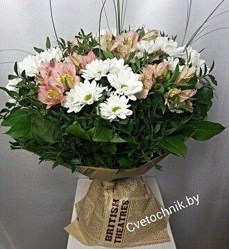 Магазин цветов Цветочник Букет альстромерий с хризантемами - фото 1
