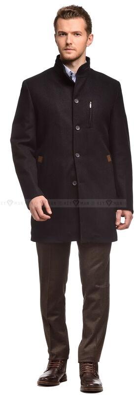 Верхняя одежда мужская Keyman Пальто мужское темно-синее шерстяное с коричневыми вставками утепленное мехом - фото 1