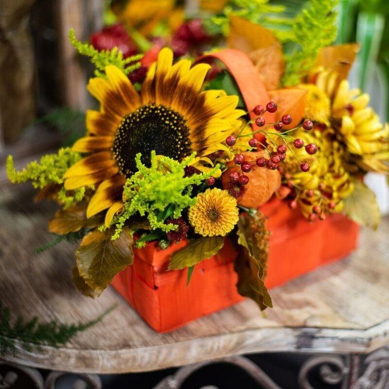 Магазин цветов Цветы на Киселева Композиция «Красное лукошко» - фото 1