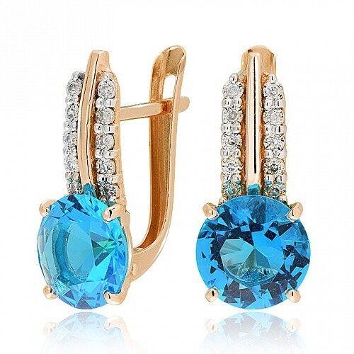 Ювелирный салон Jeweller Karat Серьги золотые с бриллиантами и топазом арт. 3225970/9 - фото 1