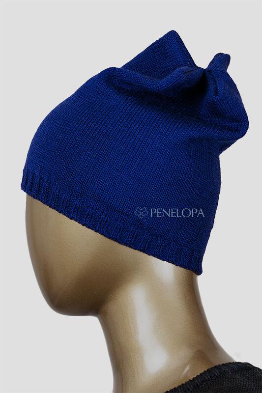 Головной убор PENELOPA Вязаная синяя шапка M6 - фото 4