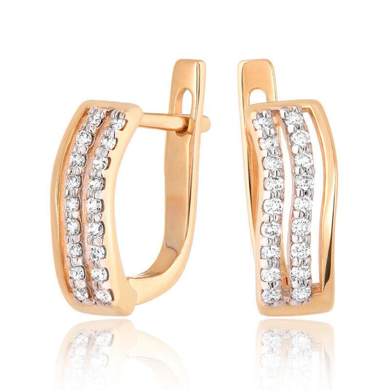 Ювелирный салон Jeweller Karat Серьги золотые с бриллиантами арт. 1222944 - фото 1