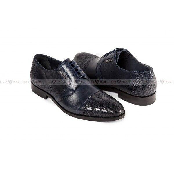 Обувь мужская Keyman Туфли мужские дерби синие с плетеной выделкой - фото 1