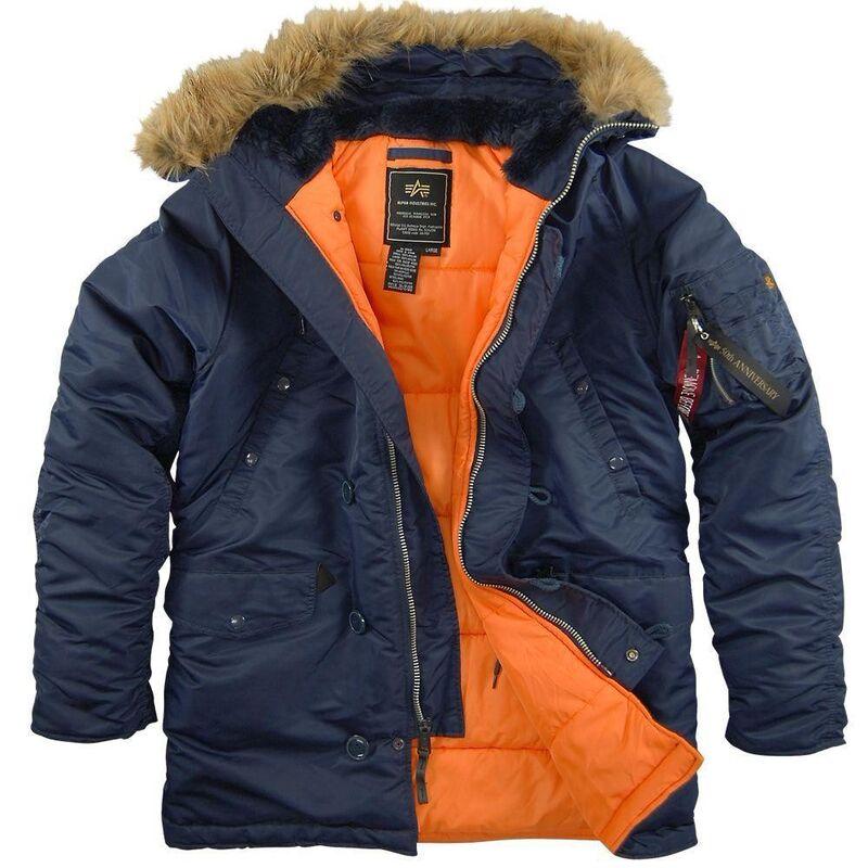 Спортивная одежда Alpha Industries Мужская куртка Аляска N-3B Slim Fit Parka Blue/Orange - фото 1
