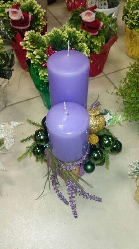 Магазин цветов Florita (Флорита) Новогодняя композиция на натуральной основе на 2 свечи арт. 201223 - фото 1
