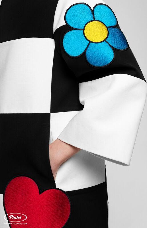 Верхняя одежда женская Pintel™ Комбинированное оп-арт полупальто прямого силуэта Maloü - фото 6