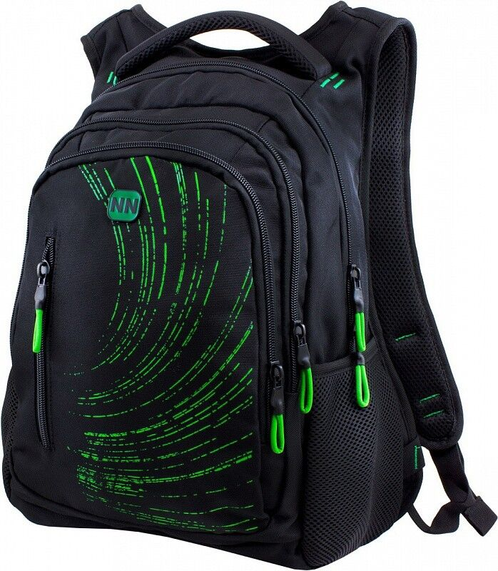 Магазин сумок Winner Рюкзак школьный черно-зеленый 387 - фото 1