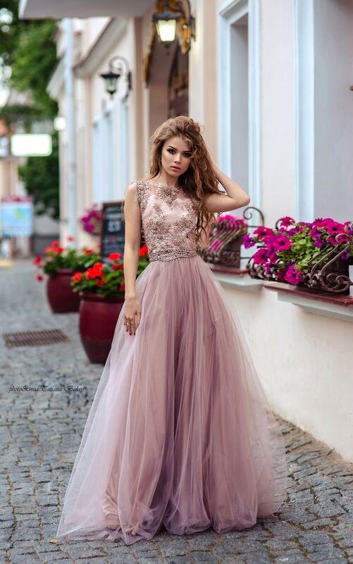 Вечернее платье Shkafpodrugi Роскошный кружевной топ с юбкой - фото 1