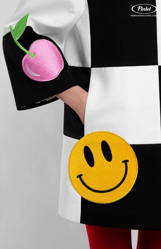 Верхняя одежда женская Pintel™ Комбинированное оп-арт полупальто прямого силуэта Maloü - фото 5
