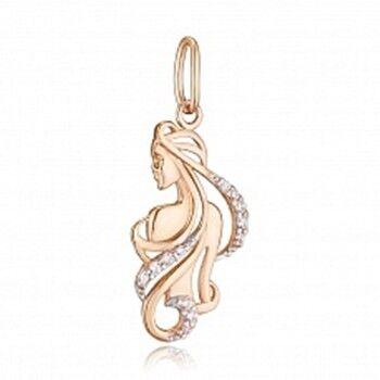 Ювелирный салон Jeweller Karat Подвеска золотая с цирконом арт. 1135870 Дева - фото 1