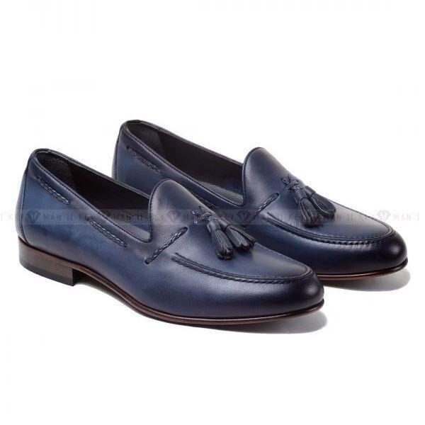 Обувь мужская Keyman Туфли мужские лоферы синие на кожаной подошве - фото 1