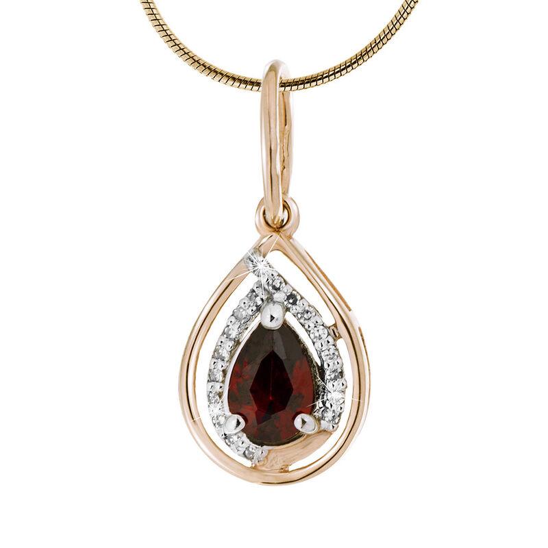 Ювелирный салон Jeweller Karat Подвеска золотая с бриллиантами и гранатом арт. 1235968 - фото 1