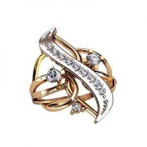 Ювелирный салон jstudio Золотое кольцо с различными фианитами 10279 - фото 1