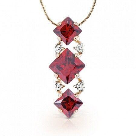 Ювелирный салон Jeweller Karat Подвеска золотая с бриллиантами и гранатами арт. 1235203 - фото 1