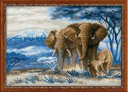 Товар для рукоделия Риолис Набор для вышивания «Слоны в саванне» - фото 1