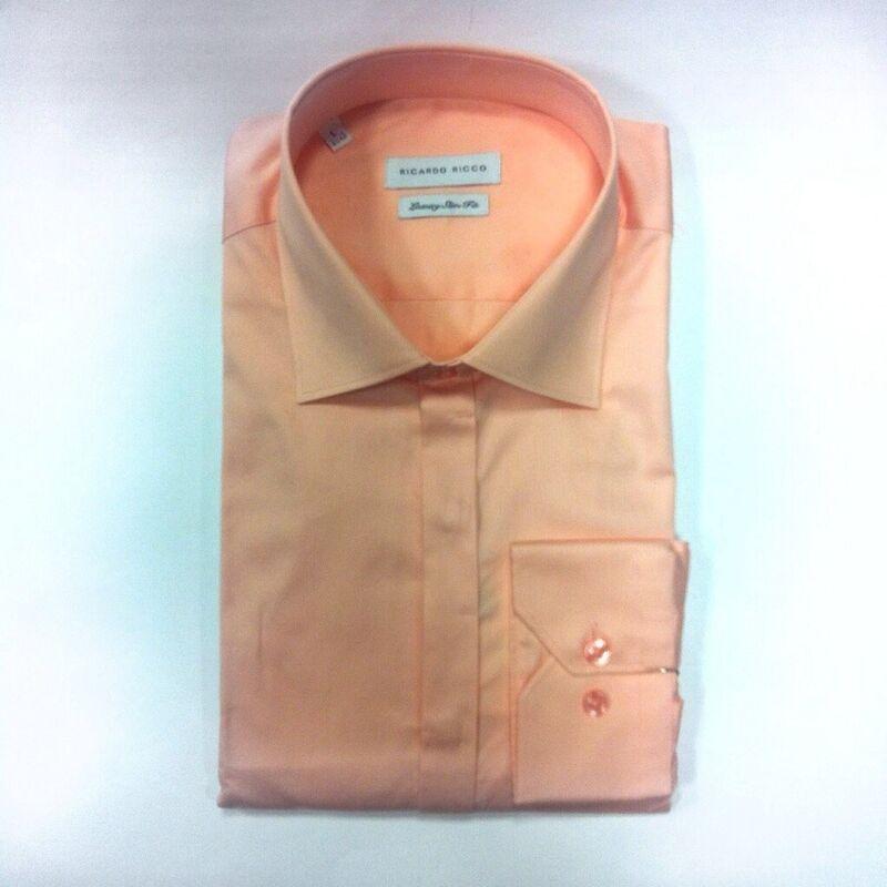 Кофта, рубашка, футболка мужская Ricardo Ricco Мужская рубашка, цвет: персиковый (Slim Fit) - фото 1