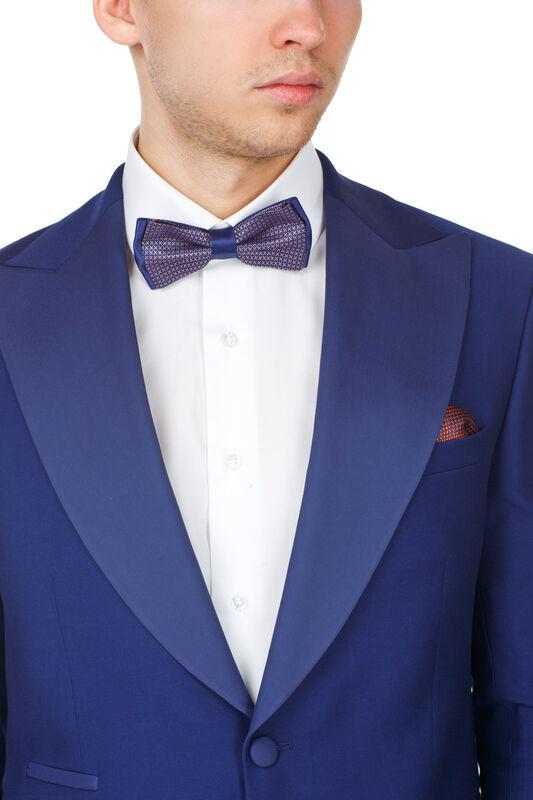 Костюм мужской HISTORIA Смокинг синий с широким лацканом - фото 3