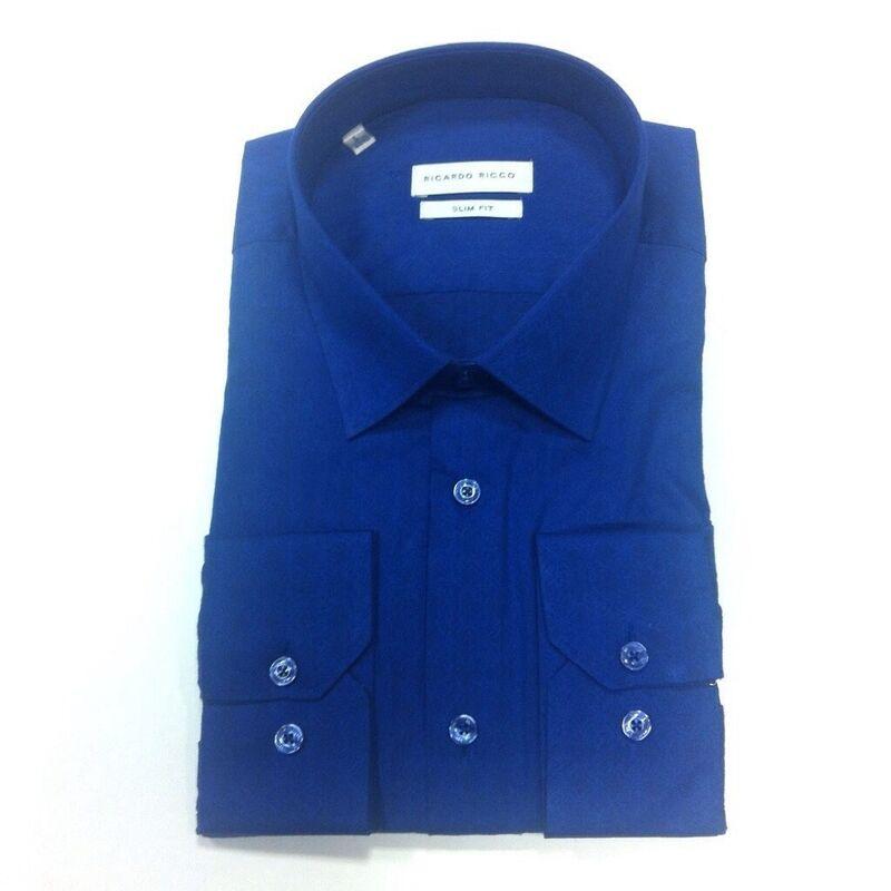 Кофта, рубашка, футболка мужская Ricardo Ricco Рубашка мужская, цвет: синий (Slim Fit) J7 - фото 1