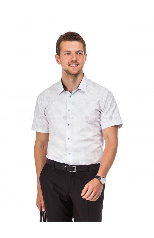 Кофта, рубашка, футболка мужская Keyman Рубашка мужская белая в синюю точку (короткий рукав) - фото 1
