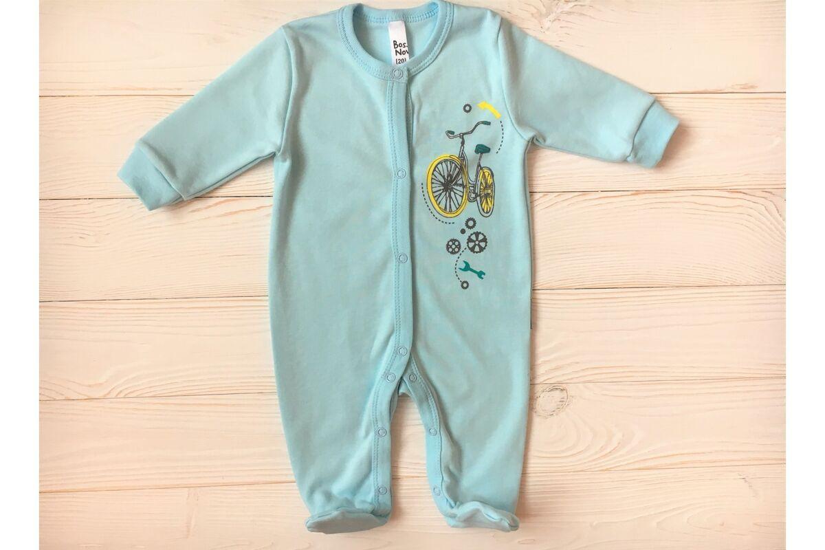 Комбинезон детский Bossa Nova Комбинезон с лапками голубой с принтом - фото 1
