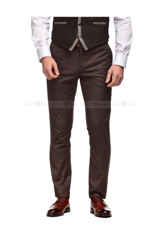 Брюки мужские Keyman Брюки мужские коричневые в плетеную фактуру - фото 1