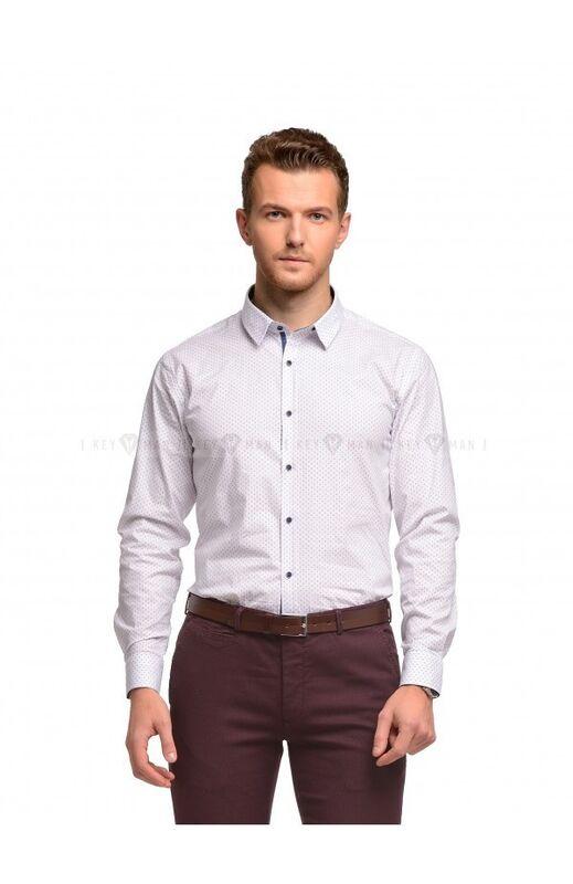 Кофта, рубашка, футболка мужская Keyman Рубашка мужская белая в красно-синий узор - фото 1