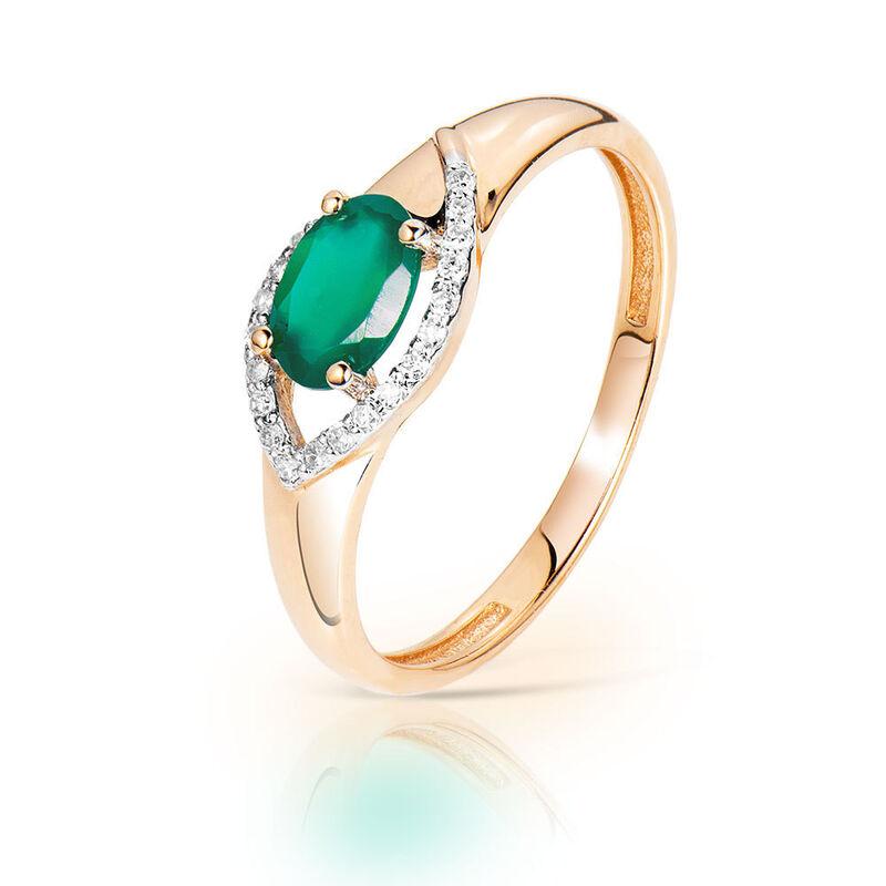 Ювелирный салон Jeweller Karat Кольцо золотое с бриллиантами и хризопразом арт. 1215910 - фото 1