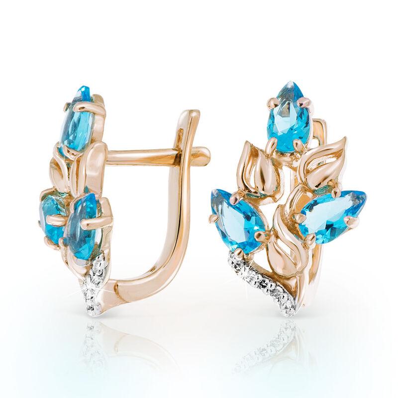 Ювелирный салон Jeweller Karat Серьги золотые с бриллиантами и топазами арт. 1225833 - фото 1