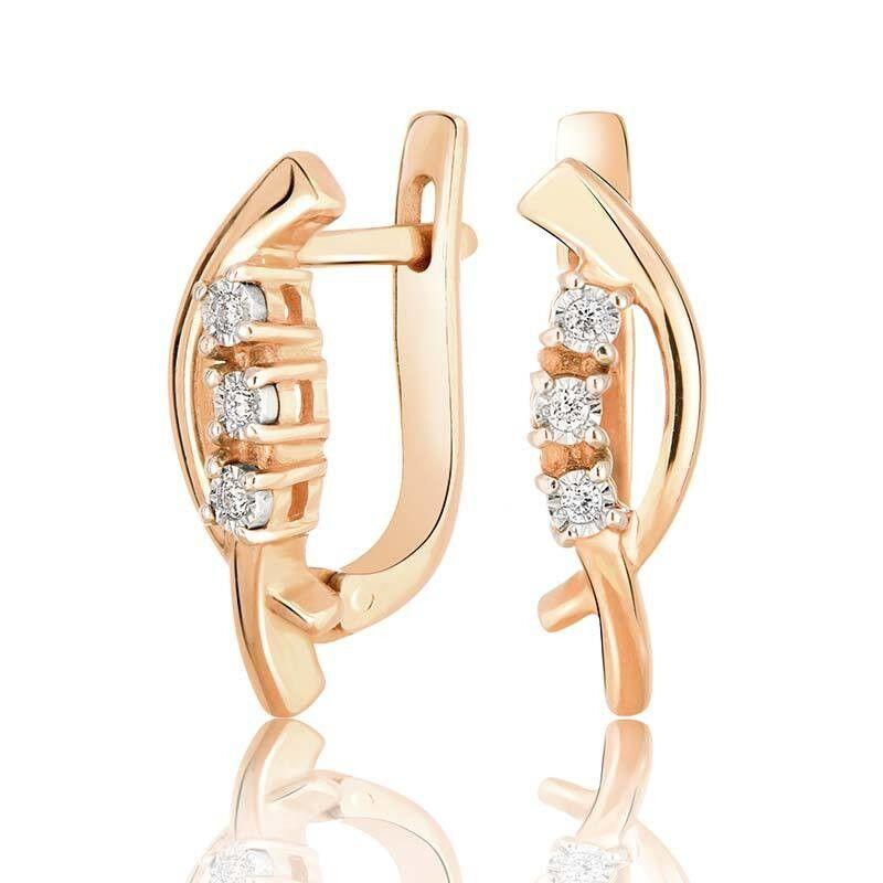 Ювелирный салон Jeweller Karat Серьги золотые с бриллиантами арт. 3222792/9 - фото 1