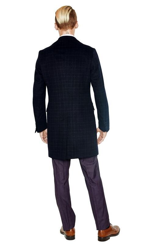Верхняя одежда мужская HISTORIA Пальто мужское темно-синее в клетку H01 - фото 2