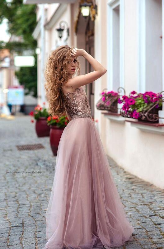 Вечернее платье Shkafpodrugi Роскошный кружевной топ с юбкой - фото 2