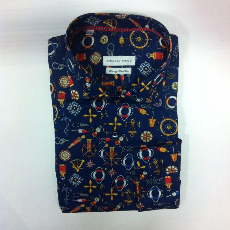 Кофта, рубашка, футболка мужская Ricardo Ricco Рубашка мужская, цвет: принт (Slim Fit) R21 - фото 1
