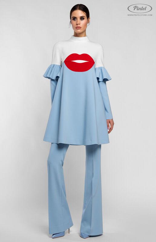 Костюм женский Pintel™ Комбинированный бело-голубой брючный костюм ROOSǍ - фото 1
