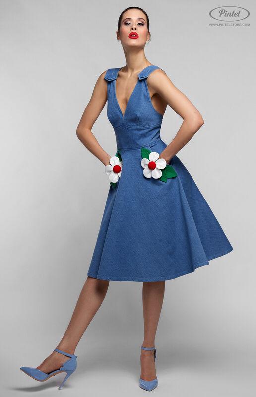 Платье женское Pintel™ Приталенное джинсовое платье без рукавов RICOTTA - фото 4