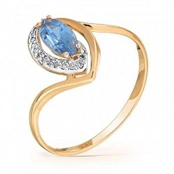 Ювелирный салон Jeweller Karat Кольцо золотое с бриллиантами и топазом арт. 1215247 - фото 1