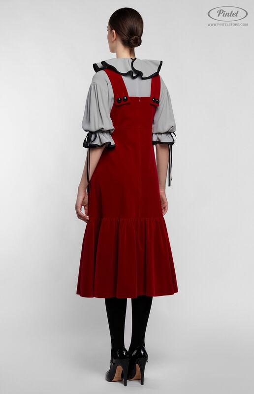 Костюм женский Pintel™ Костюм из блузы и бархатного сарафана Henriksuü - фото 3