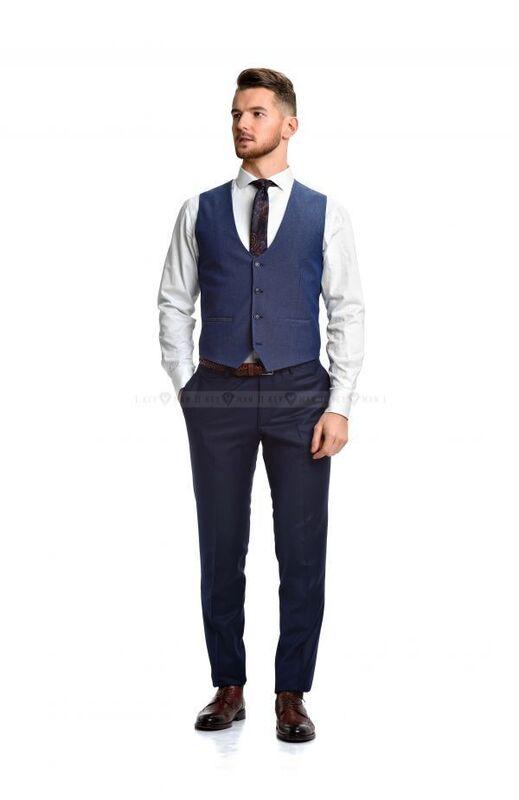 Пиджак, жакет, жилетка мужские Keyman Жилет мужской синий в черно-белую фактуру - фото 2