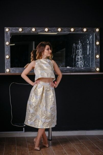 Вечернее платье Chi Chi Золотой матовый комплект - фото 2