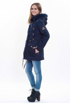 Спортивная одежда Free Flight Парка женская зимняя удлинённая модель №1458 синяя - фото 3