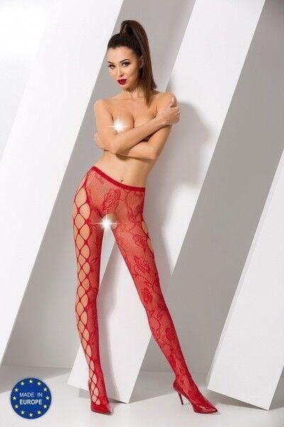 Интим-магазин Passion Красные соблазнительные колготки сетка с доступом S008-r - фото 1